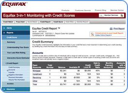 Equifax credit report sample page