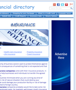 Top right-sided blue vertical banner on sub-page